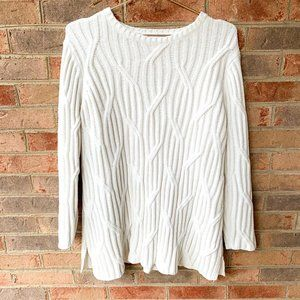 J Jill Chenille Ivory White Cable Knit Sweater